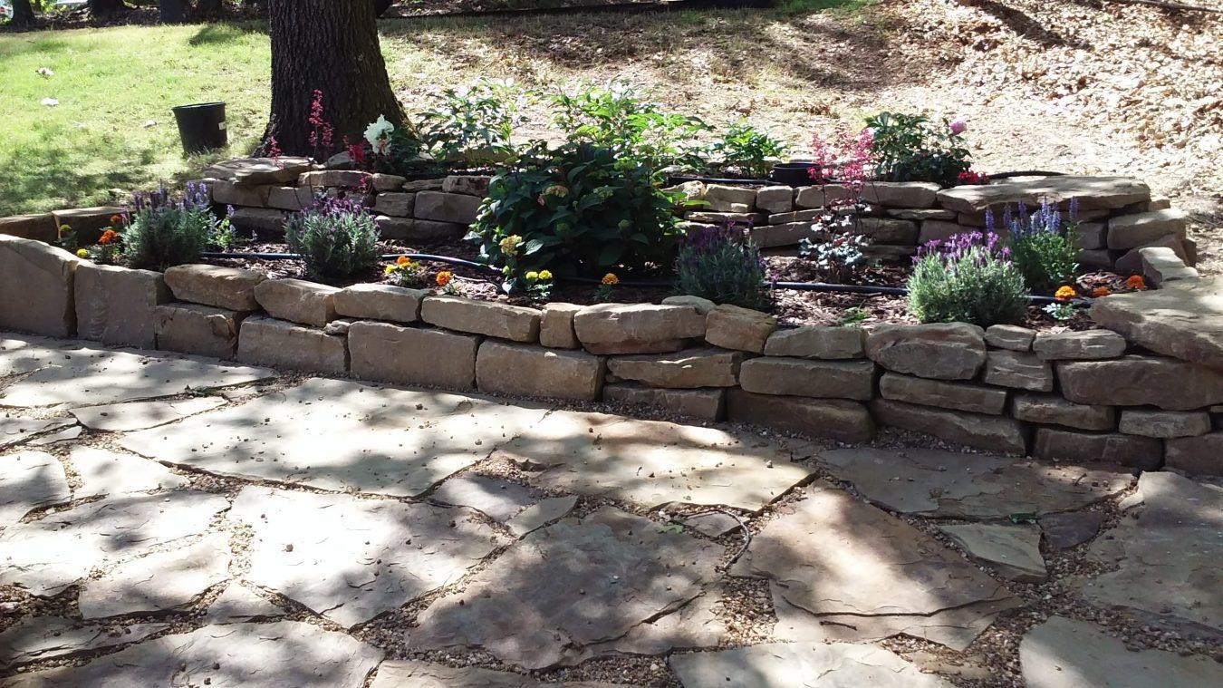 native stone garden bed