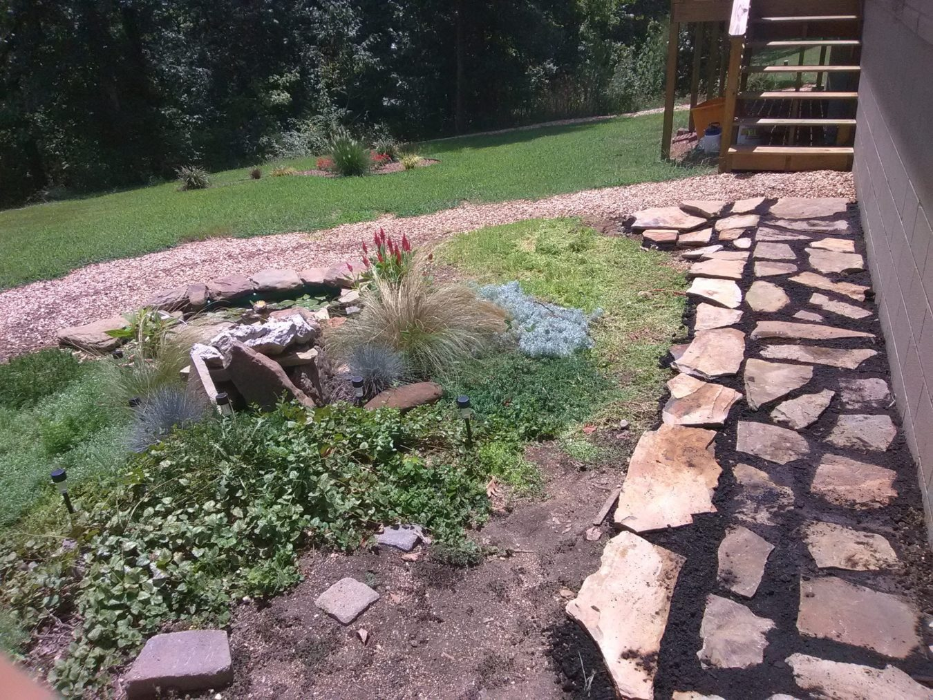 flagstone and gravel